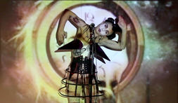 "Maya performing her original performance and music piece 'Playgirl Chocolat"". London"