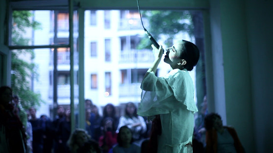 """During her intimate show in Berlin, """"My revealed concetto"""", following the screenig of short documentary based on Maya's performance work, directed and filmed by Ana Marija Marinov."""
