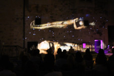"""Maya Petrovna performing inside Pazin Castle, during 2016 summer tour, with her self-directed full lenght solo show """"Love songs from the violent paradise"""". Croatia, 2016. Photographed by Marin Tudor."""