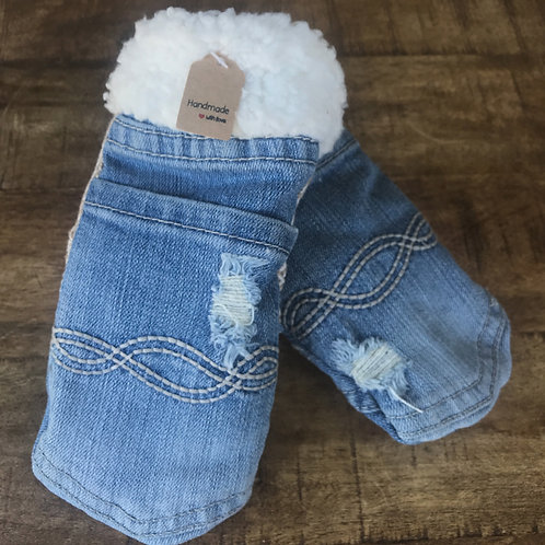 Kids Large Jean Sweater Mittens