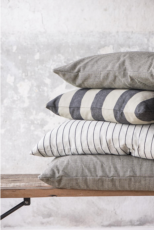 5 0 X 5 0  BEIGE & BLACK STRIPE CUSHION