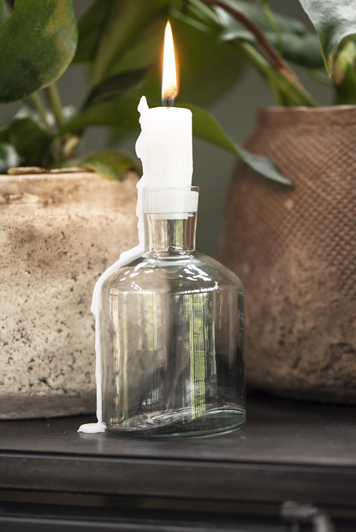 GLASS BOTTLE CANDLE HOLDER