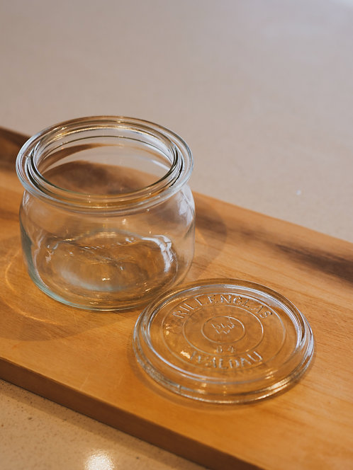 SMALL VINTAGE GLASS STORAGE JAR WITH LID