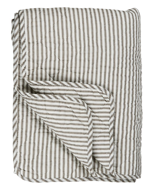 WHITE & GREY THICK STRIPE QUILT