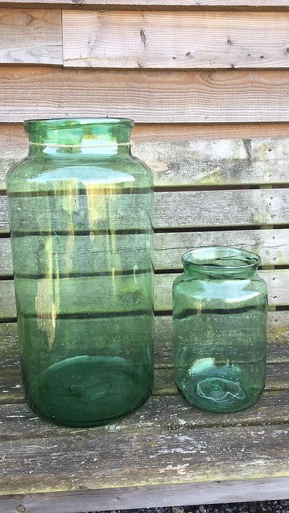 SMALL GREEN GLASS JAR
