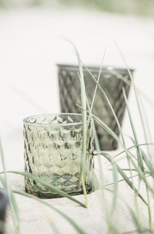 GREEN GLASS TEA-LIGHT HOLDER