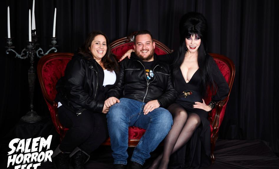 Cassandra Peterson in costume as Elvira