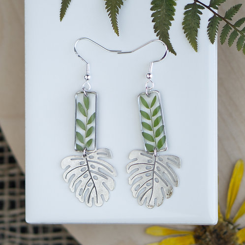 Honey Locust Leaves in Silver Rectangle with Monstera Accent
