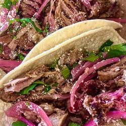 Smoked pork carnitas tacos with house-pi