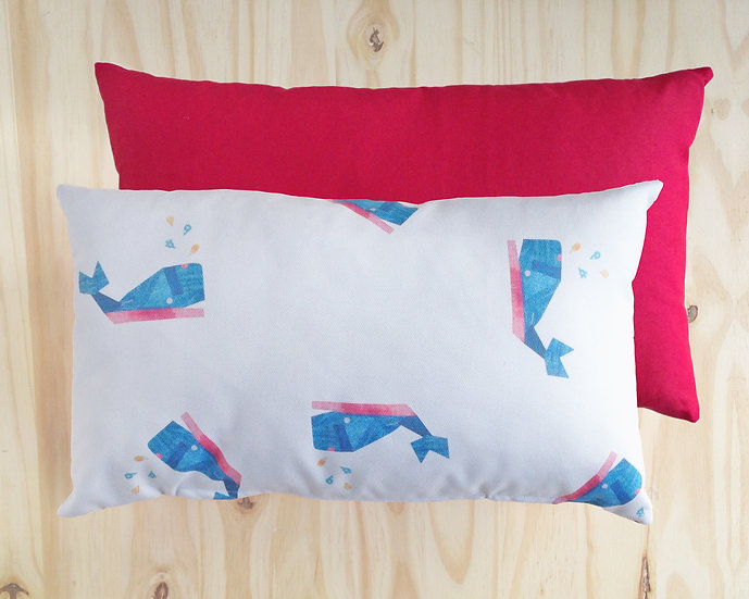 Wally Whale Cushion Cover Red 30X50cm