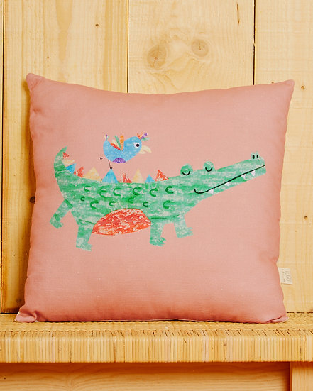 Chatty Croc Cushion Cover - Pink