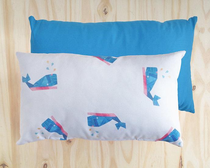Wally Whale Cushion Cover Blue 30X50cm