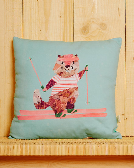 Skiing Marmotte Cushion Cover