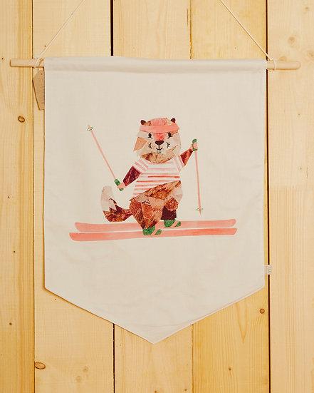 Skiing Marmotte Wall Hanging