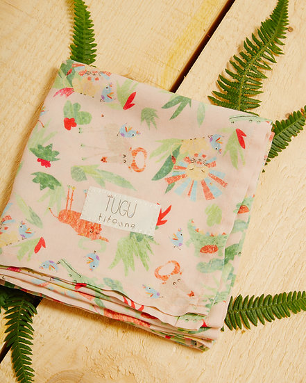 Sophie's Safari Dusty Pink Swaddle/Handy Square