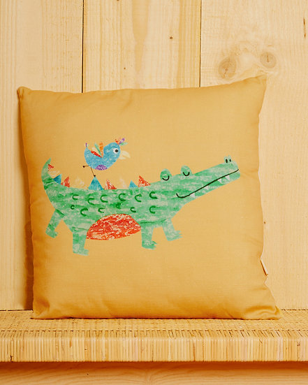 Chatty Croc Cushion Cover - Mustard