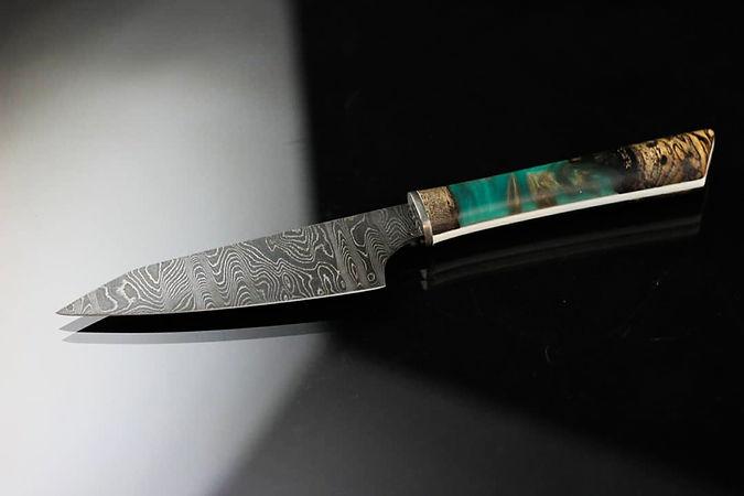 "4.5"" petty knife. Alabama damascus steel with green pearl shockwood handle."