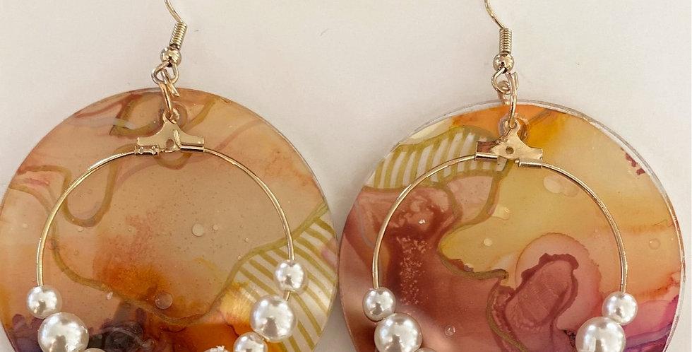 'Mother of Pearl' Bangle Earrings