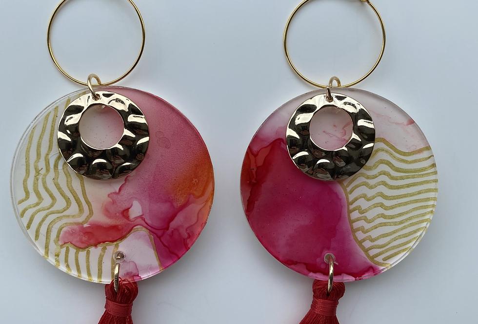 'Sunrise' Round Dangle Tassel Earrings