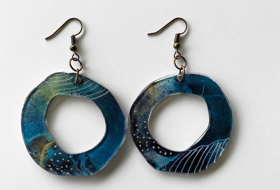 Blue Organic Hoop Dangle Earrings