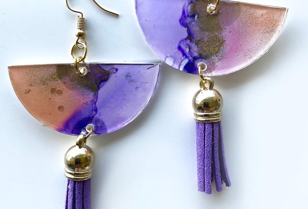 'Colours of The Wind' Half Moon Tassel Earrings