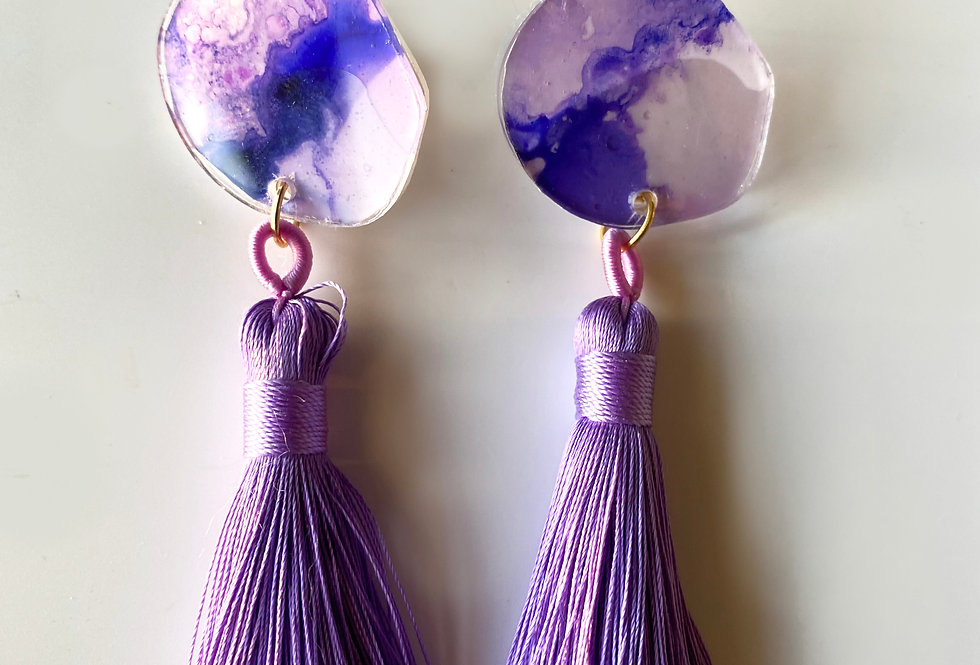 Purple Organic Circle Tassel  Earrings