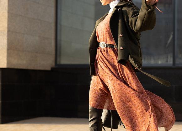 Платье свободного кроя из шерсти