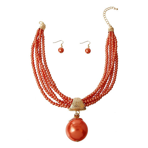 Orange Pearl Pendant Set