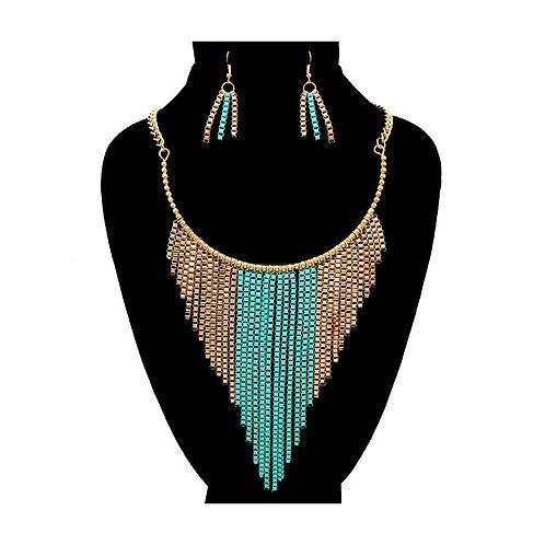 Box Chain Drop Necklace Set