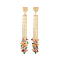 14 Karat Gold Plated Brass Multi Color Fashion Earrings