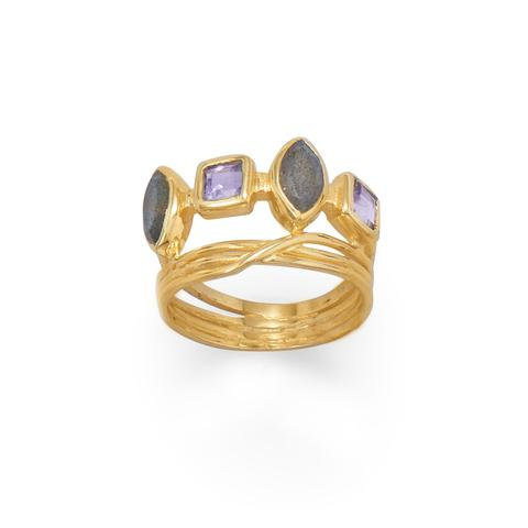 14 Karat Gold Plated Labradorite and Glass Ring