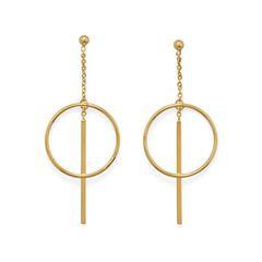 14 Karat Gold Plated Long Bar w/Circle Post Earrings