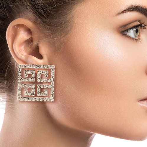 Silver Versace Rhinestone Earrings
