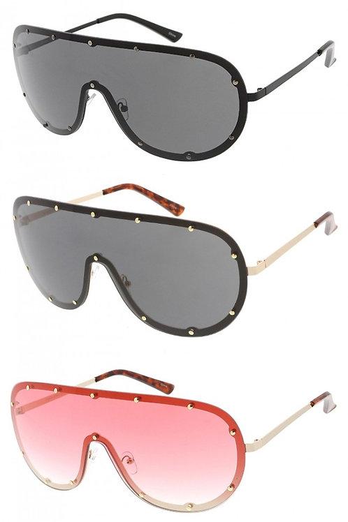 Oversized Studded Shield Lens Sunglasses-Unisex