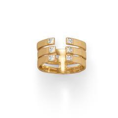 14 Karat Gold Plated 3 Row CZ Ring