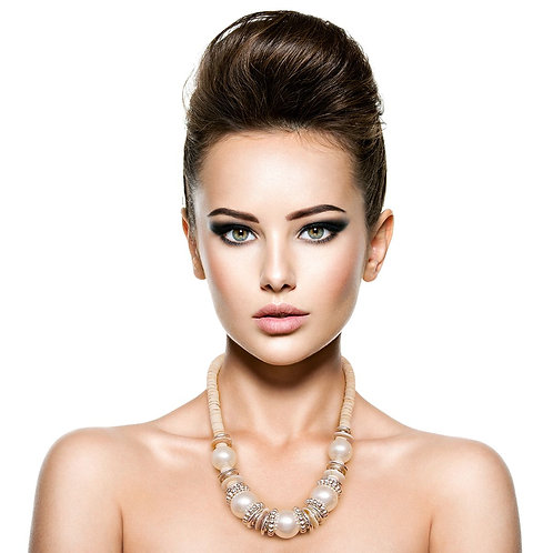 White Bead Necklace Set