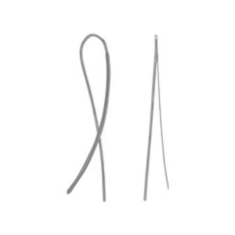14 Karat Gold Plated Flat Long Wire Earrings