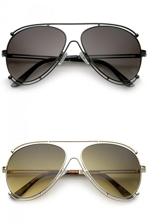 Modern Metal Border Frame Crossbar Gradient Lens Aviator Sunglasses-Unisex