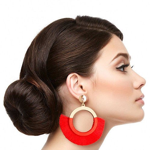 Red Silk Tassel Wood Earrings