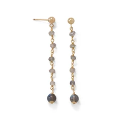 14 Karat Gold Plated Post Earrings with Labradorite Beads