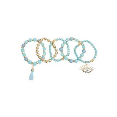 Light Blue Evil Eye 5 Pcs Bracelets