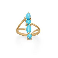 14 Karat Gold Plated Stacked Synthetic Turquoise Ring