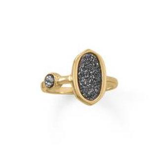 14 Karat Gold Plate Druzy Ring