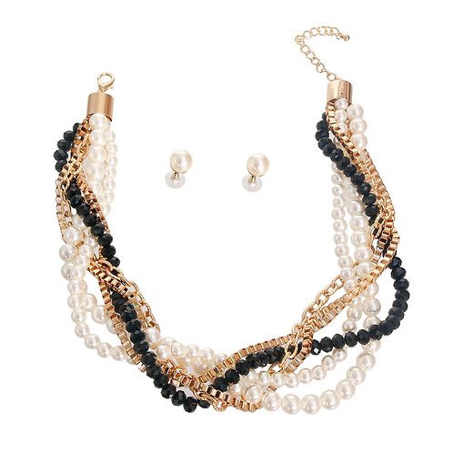 Pearl Bead and Chain Necklace Set