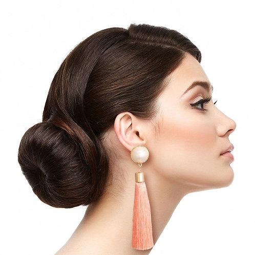 Pink Tassel Pearl Earrings