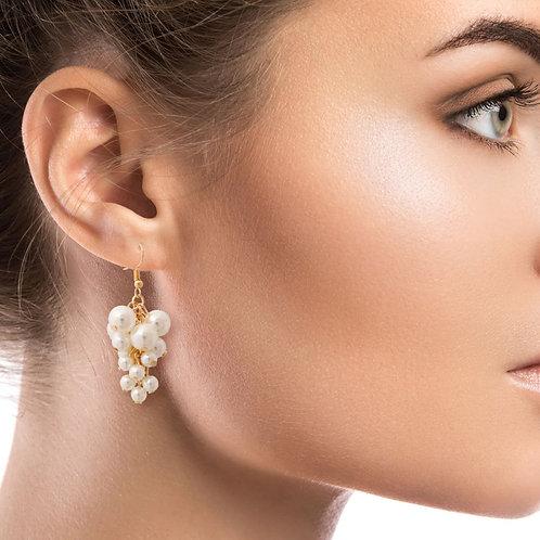 Clustered Pearl Drop Earrings