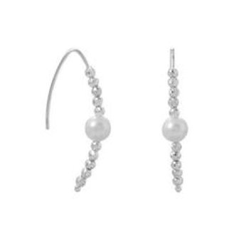 Diamond Cut Bead and Pearl Wire Earring
