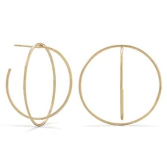 14 Karat Gold Plated 3/4 Criss-Cross Hoops