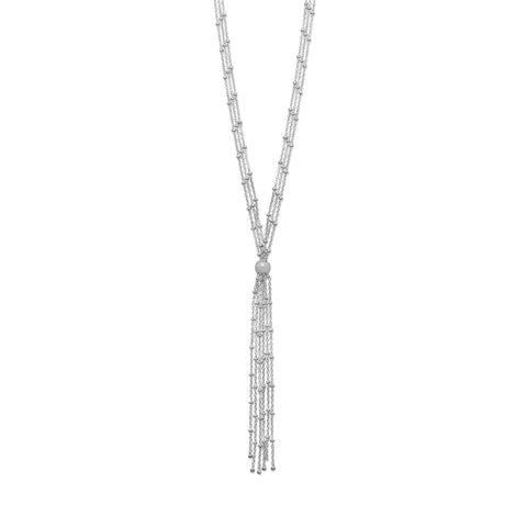 Rhodium Plated Satellite Chain Bolo Necklace
