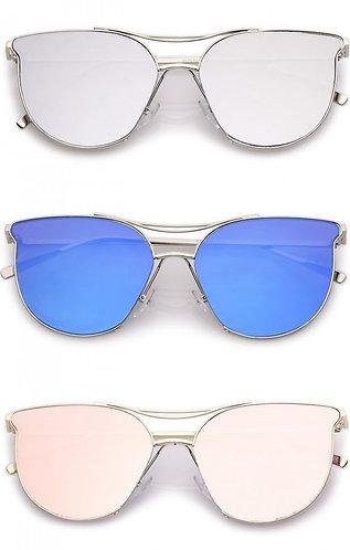 Mirrored Flat Lens Cat Eye Sunglasses-Women's